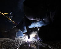 Aluminum deck plate welding Royalty Free Stock Image