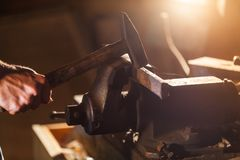 Closeup of worker in workshop Stock Images