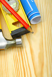 Closeup working tools on wooden boards Stock Photos
