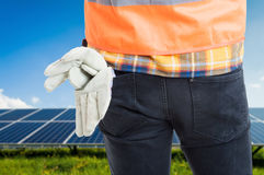 Closeup of workman gloves in his pocket Royalty Free Stock Image
