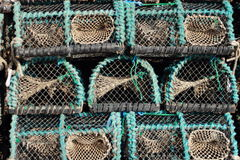 Closeup of worn fishing traps for eels Royalty Free Stock Photo