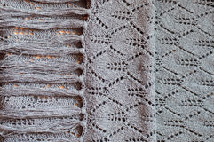 Closeup on woven handmade knitting grey sweater Royalty Free Stock Image