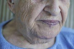 Closeup face of a senior person Stock Photos