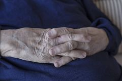 Closeup wrinkled hands Royalty Free Stock Image