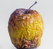 Closeup for wrinkled yellow apple stock image