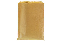 Closeup of wrinkly thin brown grocery paper bag, blank front and. Back isolated on white background royalty free stock photos