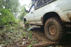 Closeup of 4x4 car driving uphill with mud Stock Photo