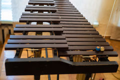 Closeup xylophone and mallets. Close up image of zylophone and two mallets Stock Photo