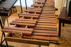 Closeup xylophone and mallets. Close up image of zylophone and two mallets Royalty Free Stock Photography