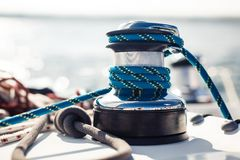 Closeup on yacht cord crank, rope holder Royalty Free Stock Photos