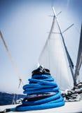Closeup on yacht cord crank Stock Photo