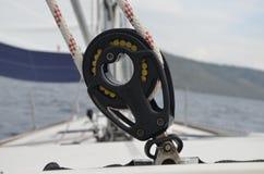 Closeup about a yacht detail Stock Photos