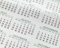 2017 Closeup Yearly Calendar showing Months royalty free stock image