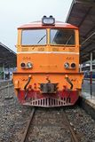 Closeup of Yellow diesel train locomotive Royalty Free Stock Image