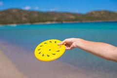 Closeup of yellow frisbee on the background of Royalty Free Stock Image