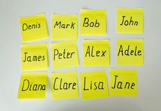 Closeup of yellow paper stickers with male and female names Royalty Free Stock Photography