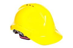 Closeup of yellow protective helmet on white background Stock Photography