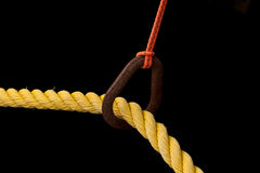 Closeup of a Yellow rope with a black background Royalty Free Stock Photos