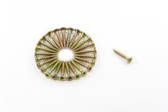 Closeup yellow zinc coated screw isolate on white background Stock Images