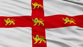 Closeup York city flag, UK. York closeup flag, city of UK, realistic animation seamless loop - 10 seconds long stock video footage