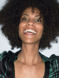 Closeup Of Young Afro Woman Laughing Stock Image