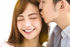 Closeup young asian couple kissing. Isolated Royalty Free Stock Image