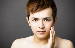 Closeup young  asian handsome man face Stock Photo