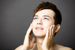 Closeup young  asian handsome man face Royalty Free Stock Images