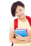 Closeup of Young asian student girl with book Royalty Free Stock Photography