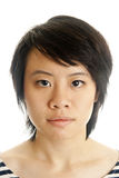 Closeup of a young asian woman. Isolated on white background Stock Photo