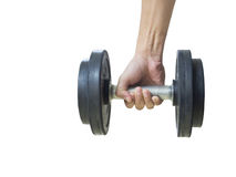Closeup of a young athlete man lifting weights. At sport club,Isolated on white background with Clipping path Royalty Free Stock Photos