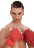 Closeup of young attractive men wearing red gloves Royalty Free Stock Images
