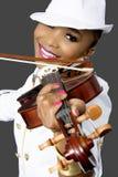Closeup of Young Beautiful African Woman Playing Violin Royalty Free Stock Photo