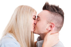 Closeup of young beautiful couple kissing Stock Image