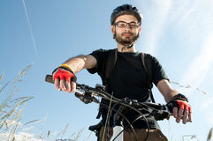 Closeup of a young biker Royalty Free Stock Photo