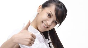 Closeup.young business woman showing thumb up. Stock Images