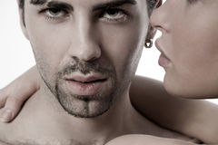 Closeup young couple. Closeup of a sexual young couple stock image
