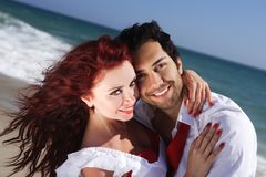 Closeup young couple enjoying on the beach Royalty Free Stock Photography