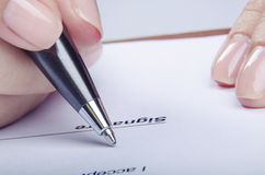 Reviewing contract Stock Photos