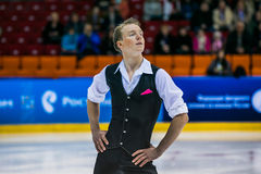 Closeup of a young figure skater male Royalty Free Stock Photo
