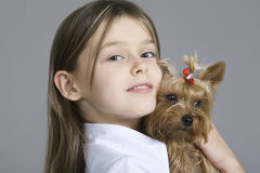 Closeup Of Young Girl With Dog Stock Image