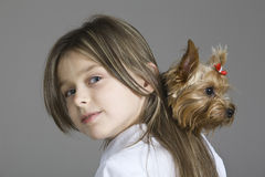 Closeup Of Young Girl With Dog Royalty Free Stock Images