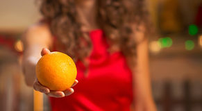 Closeup on young housewife giving orange Royalty Free Stock Photos