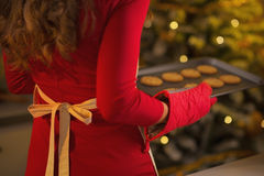 Closeup on young housewife holding pan of fresh cookies Stock Photos