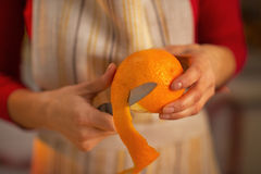 Closeup on young housewife removing orange peel Stock Image