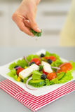 Closeup on young housewife serving salad Royalty Free Stock Image