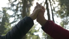 Closeup of young lovers joying hands winter sun shining among brunches of forest trees on background -. Closeup of young lovers joying hands winter sun shining stock video