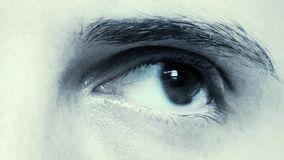 Closeup Of Young Male Eye in cold look stock footage