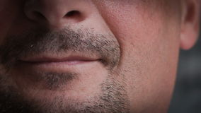 Closeup Of Young Male Lips.RAW Video 2 stock footage