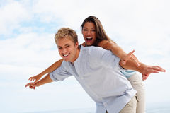 Closeup of a young man and his girlfriend Royalty Free Stock Photos